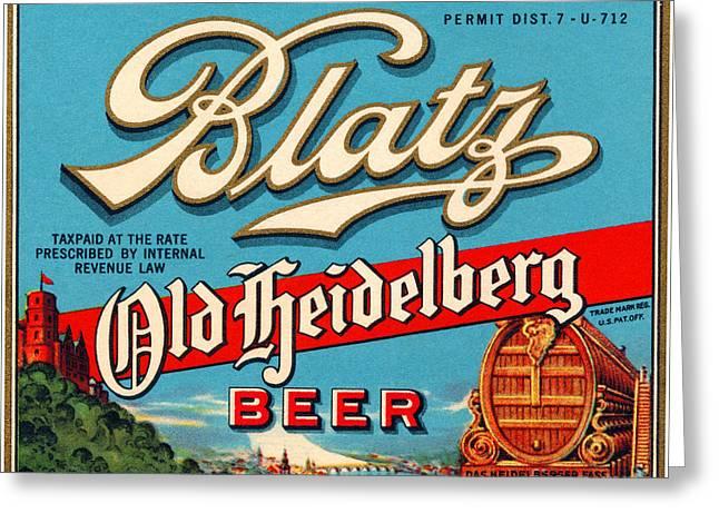 Blatz Old Heidelberg Vintage Beer Label Restored Greeting Card