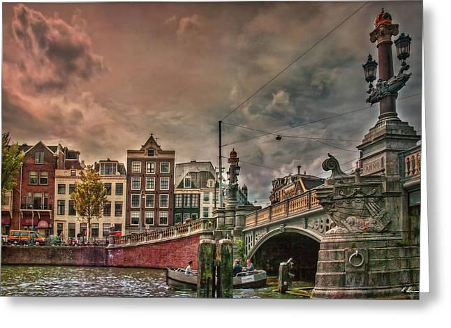 Greeting Card featuring the photograph Blauwbrug -blue Bridge- by Hanny Heim