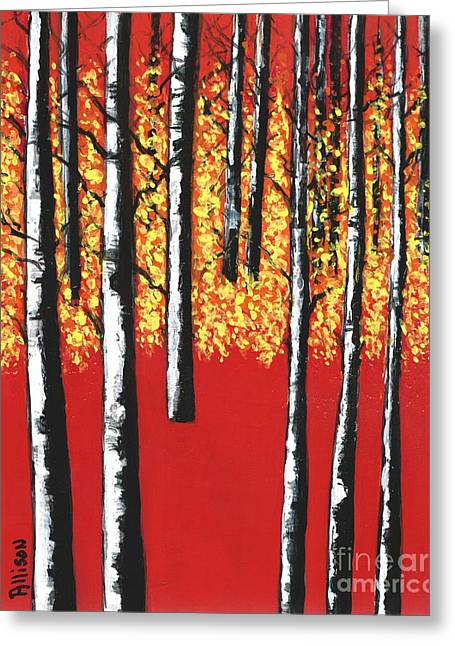 Blazing Birches Greeting Card