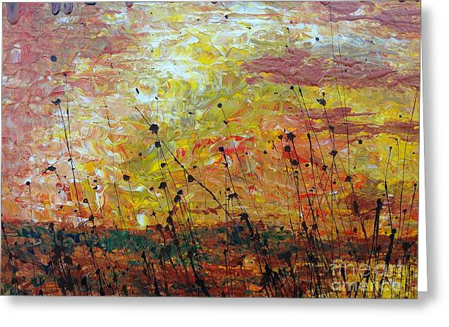 Greeting Card featuring the painting Blazing Prairie by Jacqueline Athmann