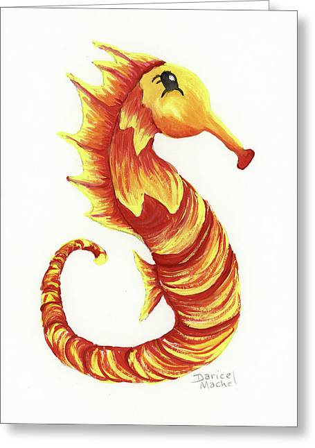 Greeting Card featuring the painting Blazing Seahorse by Darice Machel McGuire