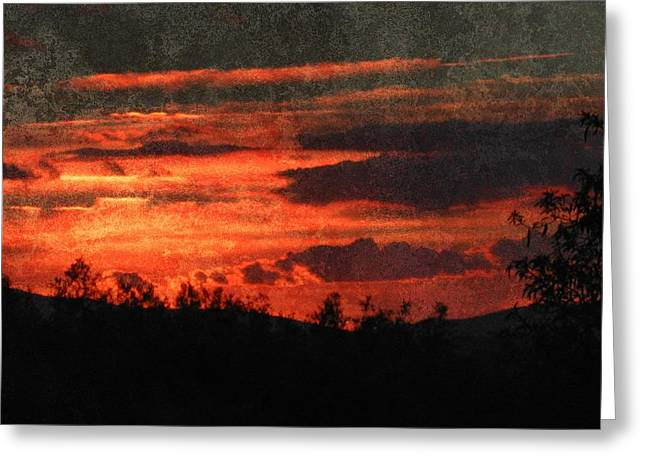Blazing Sunset Greeting Card by Dorothy Berry-Lound