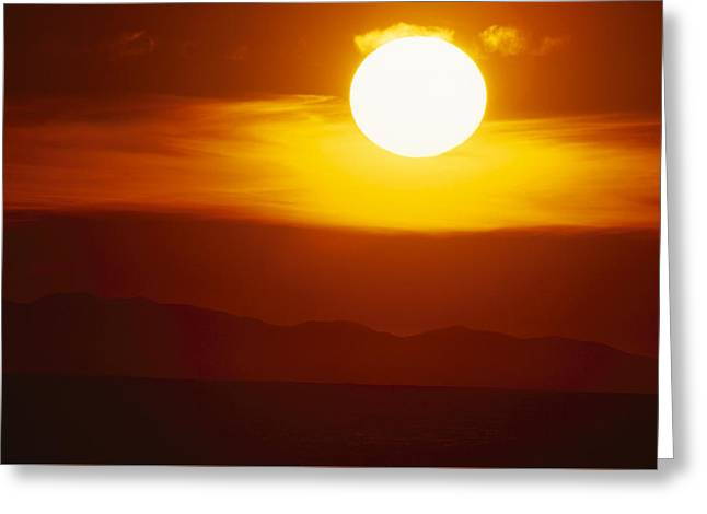 Blazing Sunset Greeting Card by Soli Deo Gloria Wilderness And Wildlife Photography