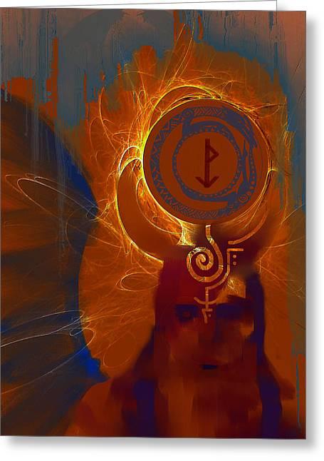 Blazzing Wisdom Through Odins Essence Greeting Card by Stephen Lucas