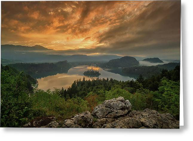 Bled On Fire Greeting Card by Martin Podt