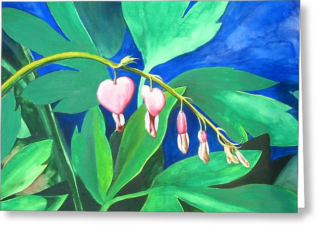 Bleeding Hearts Greeting Card by Carrie Auwaerter