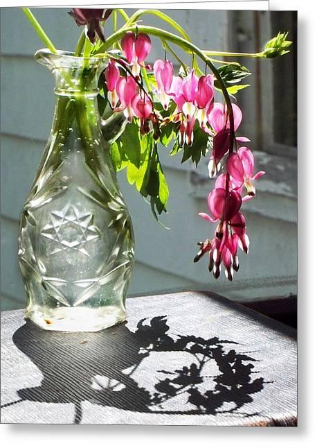 Bleeding Hearts In A Vinegar Bottle Greeting Card by Joy Nichols