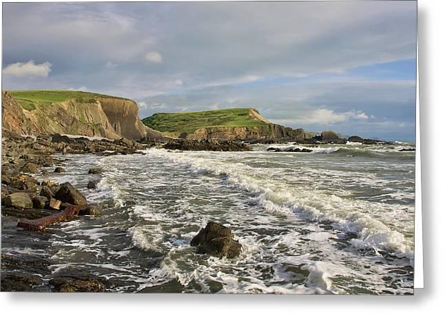 Blegberry Beach In North Devon Greeting Card by Pete Hemington