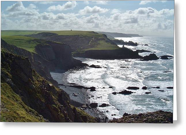Blegberry Cliffs From Damehole Point Greeting Card by Richard Brookes