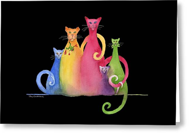 Blended Family Of Five Greeting Card by Amy Kirkpatrick