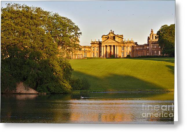 Blenheim Palace And Lake Greeting Card by Jeremy Hayden
