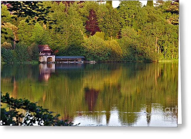 Greeting Card featuring the photograph Blenheim Palace Boathouse 2 by Jeremy Hayden