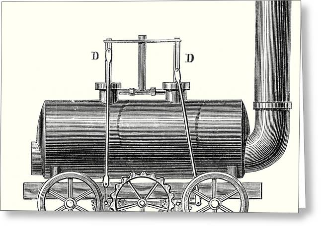 Blenkinsop's Toothed Rack Locomotive Greeting Card by English School