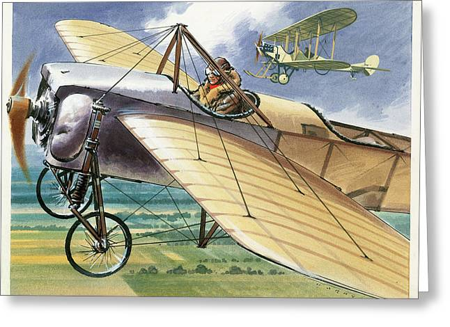 Bleriot Xi Monoplane Greeting Card by Wilf Hardy