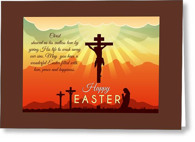 Greeting Card featuring the digital art Blessed Easter Crosses by JH Designs