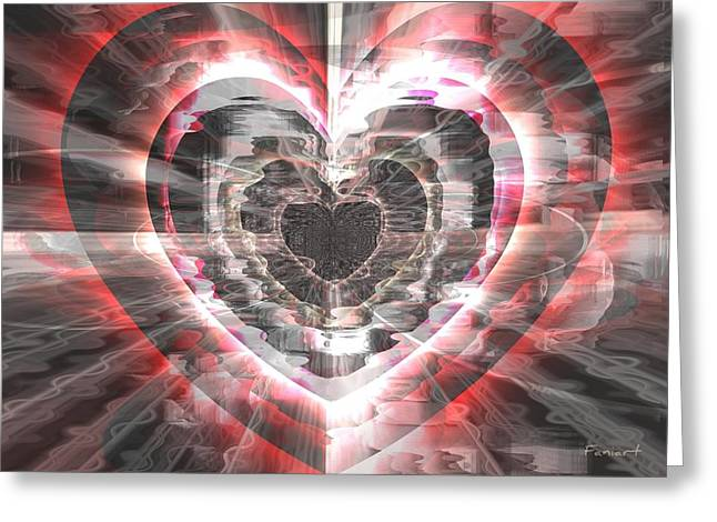 Greeting Card featuring the glass art Blessed Heart by Fania Simon