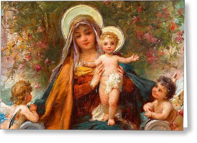 Blessed Mary With Infant Jesus And Angels Cherubs Greeting Card by Magdalena Walulik