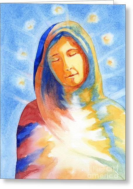 Blessed Mother Greeting Card by Juanita Yoder