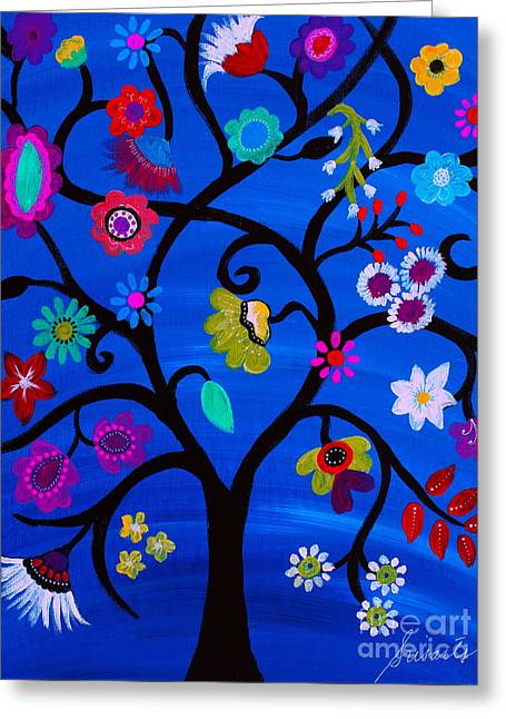 Greeting Card featuring the painting Blessed Tree Of Life by Pristine Cartera Turkus