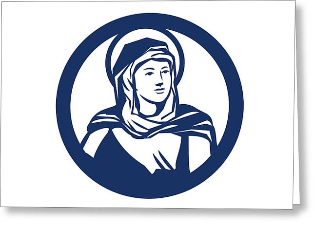 Blessed Virgin Mary Circle Retro Greeting Card