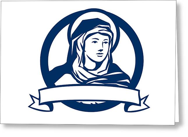 Blessed Virgin Mary Scroll Retro Greeting Card