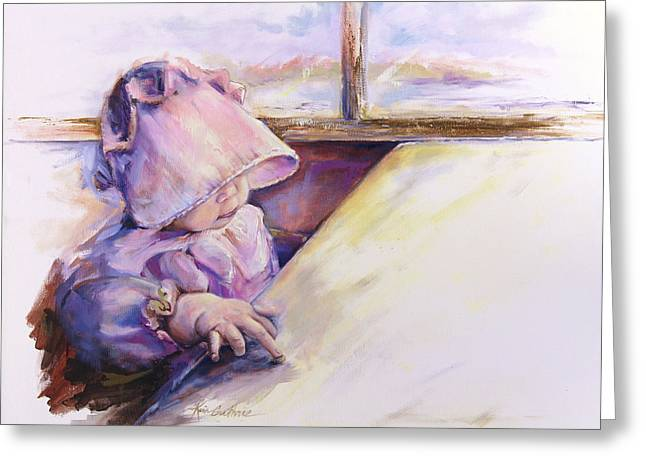 Blessing Psalm One Hundred And Seven Verse Nine Oil Painting Greeting Card by Kim Guthrie
