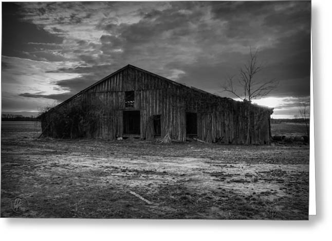 Blighted Barn 003 Bw Greeting Card by Lance Vaughn
