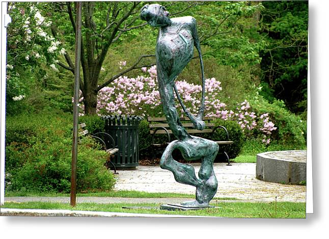 Greeting Card featuring the sculpture Blind Faith by Al Goldfarb