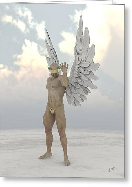 Blind Fiscal Angel Greeting Card by Joaquin Abella