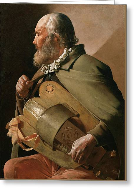 Blind Hurdy-gurdy Player Greeting Card by Georges de La Tour