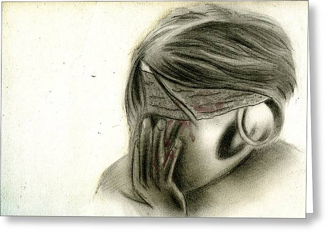 Blind To The Pain Greeting Card by Jordan Delmonte