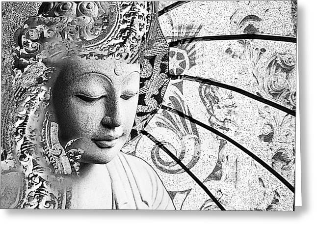 Greeting Card featuring the digital art Bliss Of Being - Black And White Buddha Art by Christopher Beikmann