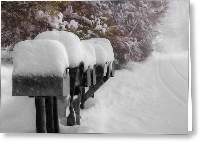 Blizzard Mailboxes Greeting Card by Lori Deiter