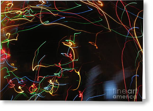 Greeting Card featuring the photograph Blizzard Of Colorful Lights. Dancing Lights Series by Ausra Huntington nee Paulauskaite