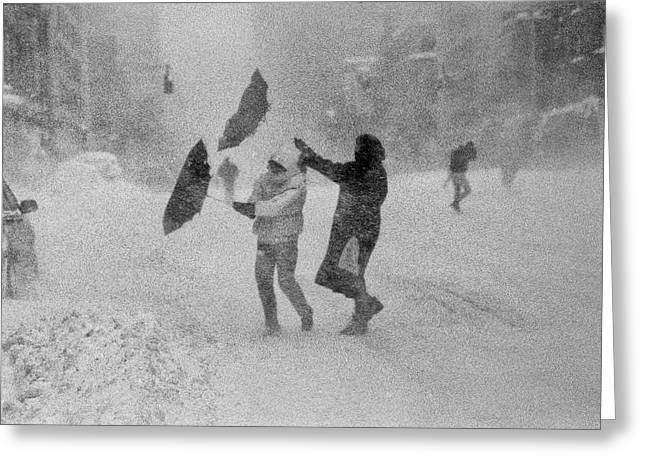 Greeting Card featuring the photograph Blizzard On Third Avenue by Dave Beckerman