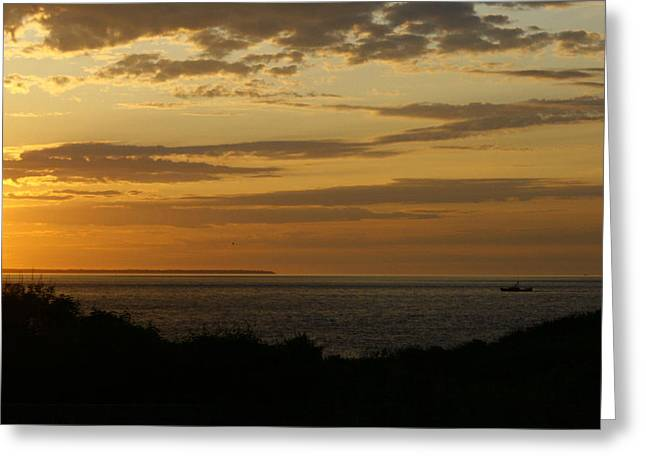 Block Island From Montauk Point Greeting Card by Christopher Kirby