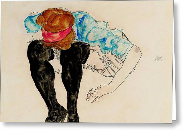 Blond Girl, Leaning Forward With Black Stockings 1912 Greeting Card by Egon Schiele