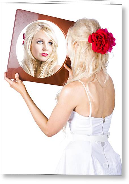 Blond Woman Looking In Mirror Greeting Card by Jorgo Photography - Wall Art Gallery