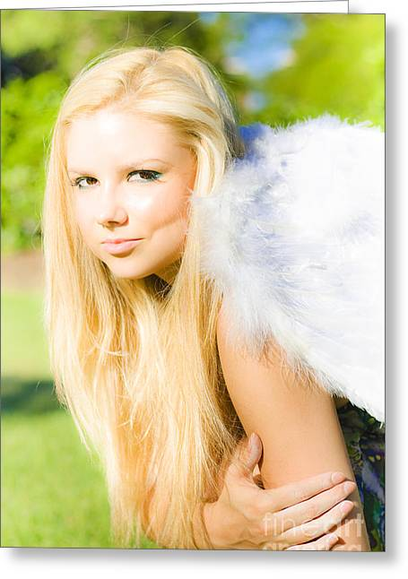 Blonde Angel Greeting Card by Jorgo Photography - Wall Art Gallery