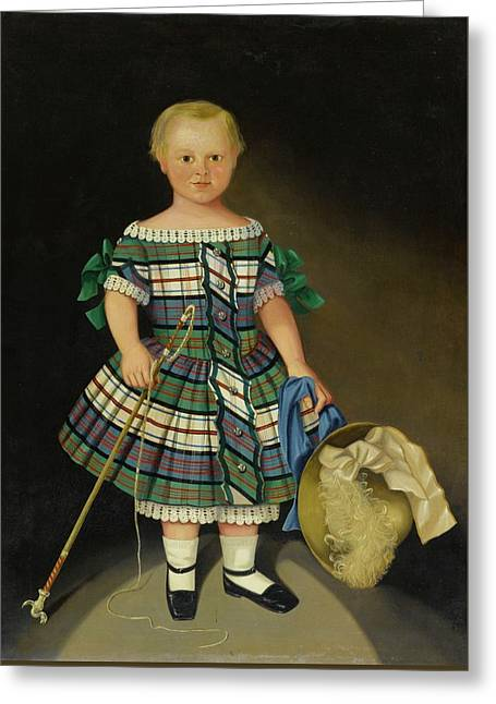 Blonde Boy In Plaid Dress And Holding A Whip Greeting Card by MotionAge Designs