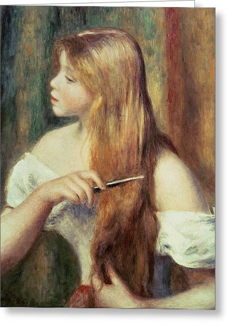 Blonde Girl Combing Her Hair Greeting Card by Pierre Auguste Renoir