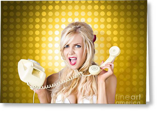 Blonde Girl Tangled In A Funny Phone Communication Greeting Card by Jorgo Photography - Wall Art Gallery