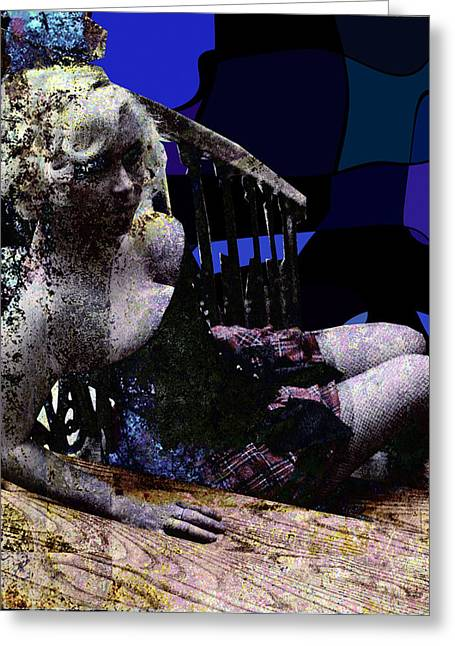 Blonde On Blue Stairs Greeting Card by Adam Kissel