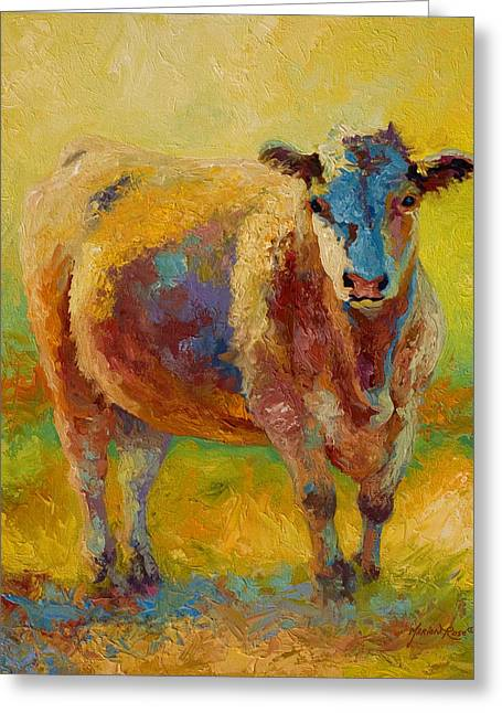 Blondie - Cow Greeting Card by Marion Rose