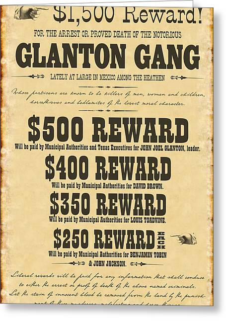 Blood Meridian Wanted Poster Greeting Card
