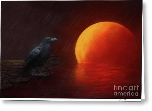 Blood Moon Crow Greeting Card