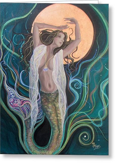 Blood Moon Goddess  Greeting Card by Angel Fritz