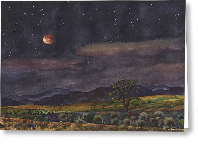 Blood Moon Over Boulder Greeting Card