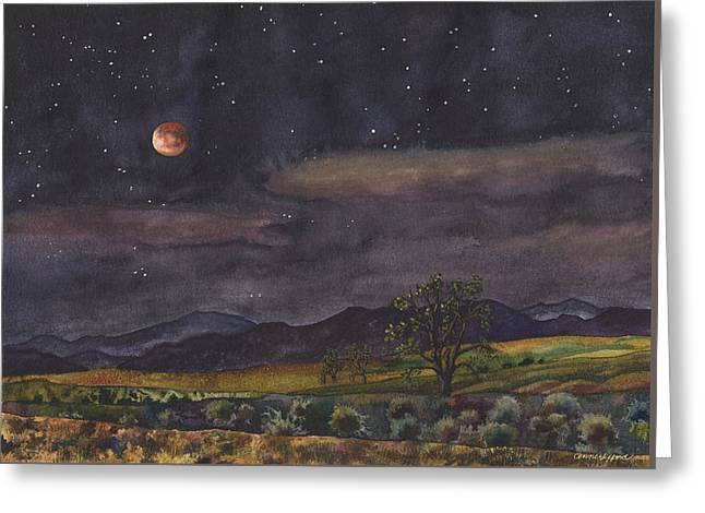 Blood Moon Over Boulder Greeting Card by Anne Gifford