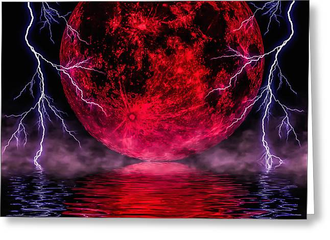 Blood Moon Over Mist Lake Greeting Card by Naomi Burgess